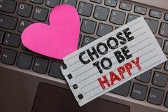 Wortschreibenstext beschließen, glücklich zu sein Geschäftskonzept für Decide seiend in einem netten frohen des smiley der guten  stockbild