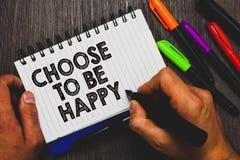 Wortschreibenstext beschließen, glücklich zu sein Geschäftskonzept für Decide seiend- in einem netten frohen des smiley der guten lizenzfreie stockfotos