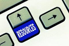 Wortschreibenstext Betriebsmittel Geschäftskonzept für Geld-Material-Personal und andere Anlagegüter mussten eine Firma leiten lizenzfreie stockfotos