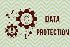 Wortschreibenstext Daten-Schutz Geschäftskonzept für Protect IP address und Personendaten von der schädlichen Software stock abbildung