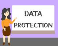 Wortschreibenstext Daten-Schutz Geschäftskonzept für Protect IP address und Personendaten von der schädlichen Software vektor abbildung