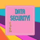 Wortschreibenstext Datensicherheit Geschäftskonzept für den Prozess des Schützens von Daten vor unberechtigtem Zugriff lizenzfreie abbildung