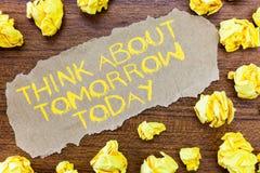 Wortschreibenstext denken ungefähr morgen heute Geschäftskonzept für Prepare Ihre Zukunft stellen jetzt vor, sich was folgend ist lizenzfreie stockfotos
