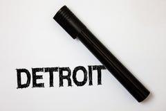 Wortschreibenstext Detroit Geschäftskonzept für Stadt in der Hauptstadt der Vereinigten Staaten von Amerika von Ideen-Mitteilunge Lizenzfreie Stockfotos
