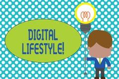 Wortschreibenstext Digital-Lebensstil Geschäftskonzept für das Arbeiten über der Internet Welt von den Gelegenheiten, die Mann st stock abbildung