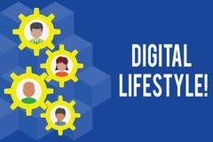 Wortschreibenstext Digital-Lebensstil Geschäftskonzept für das Arbeiten über der Internet Welt von Gelegenheiten Gearshaped vektor abbildung
