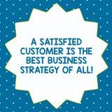 Wortschreibenstext ein erfüllter Kunde ist die beste Geschäftsstrategie von allen Geschäftskonzept für guten Service vierzehn stock abbildung