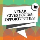 Wortschreibenstext ein Jahr gibt Ihre 365 Gelegenheiten Geschäftskonzept für neue neue Anfangsmotivationsinspiration vektor abbildung