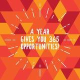 Wortschreibenstext ein Jahr gibt Ihre 365 Gelegenheiten Geschäftskonzept für neue neue Anfangsmotivationsinspiration dünn stock abbildung