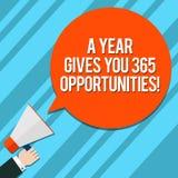 Wortschreibenstext ein Jahr gibt Ihre 365 Gelegenheiten Geschäftskonzept für neue neue Anfangsmotivationsinspiration HU stock abbildung