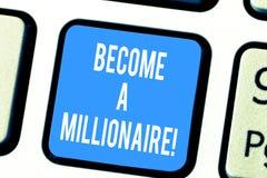 Wortschreibenstext ein Millionär geworden Geschäftskonzept für, zum ein reiches Demonstrieren mit vielen des Geldes und Eigentums stockbild