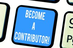 Wortschreibenstext ein Mitwirkender geworden Geschäftskonzept für Takes part auf dem Spenden des Geldes beabsichtigen insbesonder stockfotografie