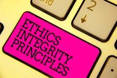Wortschreibenstext Ethik-Integritäts-Prinzipien Geschäftskonzept für Qualität des Seins ehrlich und des Habens des starken morali stockbilder