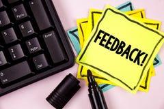 Wortschreibenstext Feedback-Motivanruf Geschäftskonzept für das Veranschlagen eines wirtschaftlichen lokalen Gemischtwarenladens  Lizenzfreie Stockbilder