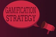 Wortschreibenstext Gamifications-Strategie Geschäftskonzept für Gebrauch Belohnungen für Motivation integrieren Spiel-Mechaniker stock abbildung