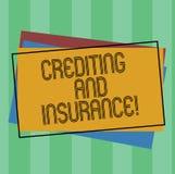 Wortschreibenstext Gutschreiben und Versicherung Geschäftskonzept für Protect der Versicherungsnehmer gegen zahlungsunfähigen Kun vektor abbildung