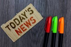 Wortschreibenstext heute s ist Nachrichten Geschäftskonzept für das späteste Brechen versieht die gegenwärtigen Aktualisierungen  lizenzfreies stockbild