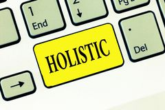 Wortschreibenstext holistisch Geschäftskonzept für gekennzeichneten Glauben, der vertraut untereinander verbundenes etwas zerteil lizenzfreie stockfotografie
