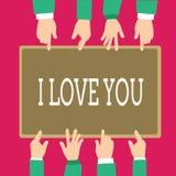 Wortschreibenstext ich liebe dich Geschäftskonzept für das Ausdrücken von roanalysistic Gefühlen für jemand positives Gefühl stock abbildung