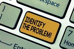 Wortschreibenstext identifizieren das Problem Geschäftskonzept für die Diagnose der Situation und des Fokus auf dem wirklichen Pr stockbilder