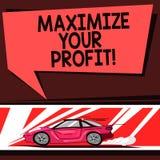 Wortschreibenstext Ihren Gewinn maximieren Geschäftskonzept für Achieve ein maximaler Gewinn mit niedrigem Betriebskosten Auto lizenzfreie abbildung