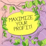 Wortschreibenstext Ihren Gewinn maximieren Geschäftskonzept für Achieve ein maximaler Gewinn mit niedrigem Betriebskosten Baum stock abbildung