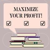 Wortschreibenstext Ihren Gewinn maximieren Geschäftskonzept für Achieve ein maximaler Gewinn mit niedrigem Betriebskosten ungleic lizenzfreie abbildung
