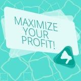 Wortschreibenstext Ihren Gewinn maximieren Geschäftskonzept für Achieve ein maximaler Gewinn mit niedrigen Betriebskosten vektor abbildung