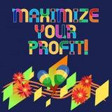 Wortschreibenstext Ihren Gewinn maximieren Geschäftskonzept für Achieve ein maximaler Gewinn mit niedrigen Betriebskosten lizenzfreie abbildung