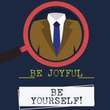 Wortschreibenstext ist ist sich froh Geschäftskonzept für das Enjoy Lebenglück, das immer nettes Vergrößern lächelt vektor abbildung
