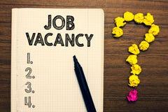 Wortschreibenstext Job Vacancy Geschäftskonzept für leeren oder verfügbaren zahlenden Platz in der kleinen oder großen Firmanotiz lizenzfreie stockfotos