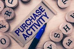 Wortschreibenstext Kauf-Tätigkeit Geschäftskonzept für den Erwerb von Waren, um die Ziele einer Organisation zu erzielen lizenzfreie stockfotos