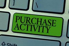 Wortschreibenstext Kauf-Tätigkeit Geschäftskonzept für den Erwerb von Waren, um die Ziele einer Organisation zu erzielen lizenzfreie stockfotografie