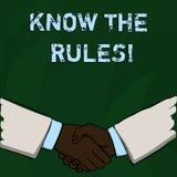 Wortschreibenstext kennen die Regeln Geschäftskonzept für Understand Bedingungen erhalten Rechtsberatung von den Rechtsanwälten stock abbildung
