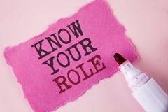 Wortschreibenstext kennen Ihre Rolle Geschäftskonzept für definieren Position in Arbeit oder Lebenslauf Lebenziele Active, der au Stockfoto