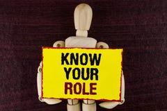 Wortschreibenstext kennen Ihre Rolle Geschäftskonzept für definieren Position in Arbeit oder Lebenslauf Lebenziele Active, der au Stockbilder