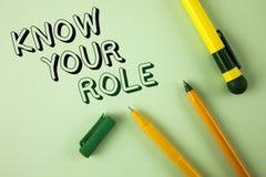 Wortschreibenstext kennen Ihre Rolle Geschäftskonzept für definieren Position in Arbeit oder Lebenslauf Lebenziele Active, der au Stockbild