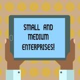 Wortschreibenstext klein und Mittelbetriebe Geschäftskonzept für SME-Wachstum neuen analysisagement Geschäft der Starts lizenzfreie abbildung