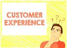 Wortschreibenstext Kunden-Erfahrung Geschäftskonzept für Interaktion zwischen erfülltem Kunden und Organisation vektor abbildung