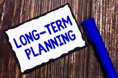 Wortschreibenstext langfristige Planung Geschäftskonzept für Establish erwartete Ziele fünf oder mehr kommende Jahre stockbild