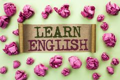 Wortschreibenstext lernen Englisch Geschäftskonzept für Studie eine andere Sprache lernen etwas die fremde Mitteilung, die auf Ka lizenzfreie stockbilder