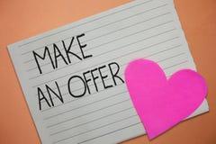 Wortschreibenstext machen ein Angebot Geschäftskonzept für Antrag holen oben freiwilligen Proffer schenken Angebot Grant lizenzfreies stockfoto