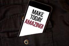 Wortschreibenstext machen heute überraschenden Motivanruf Geschäftskonzept für produktiver Moment-spezielles optimistisches Handy lizenzfreie stockfotos