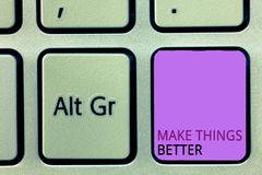 Wortschreibenstext machen Sachen besser Geschäftskonzept für tun etwas, sich zu verbessern ist die Änderungs-Tat lizenzfreie stockbilder
