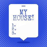 Wortschreibenstext mein Haus Geschäftskonzept für Platz, den Sie bequem glauben können, Leben kochend und im freien Raum schlafen lizenzfreie abbildung