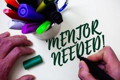 Wortschreibenstext Mentor-erforderlicher Motivanruf Geschäftskonzept für Anleitungsratestütztraining erforderte Künstlerstudienbi stockfotografie