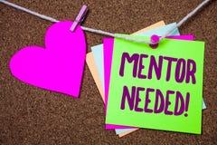 Wortschreibenstext Mentor-erforderlicher Motivanruf Geschäftskonzept für Anleitungsratestütztraining erforderte Herzthread-WTI lizenzfreie stockfotos
