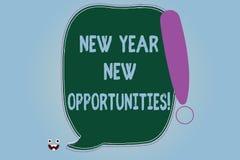 Wortschreibenstext neues Jahr-neue Gelegenheiten Geschäftskonzept für die Neustart-Motivationsinspiration 365 Tage leer stock abbildung