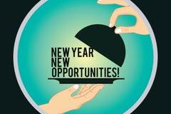 Wortschreibenstext neues Jahr-neue Gelegenheiten Geschäftskonzept für Neustart-Motivationsinspiration 365 Tag-HU-Analyse Hände vektor abbildung