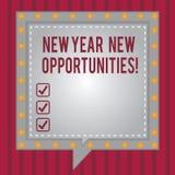 Wortschreibenstext neues Jahr-neue Gelegenheiten Geschäftskonzept für Neustart-Motivationsinspiration 365 Tage quadrieren Rede stock abbildung
